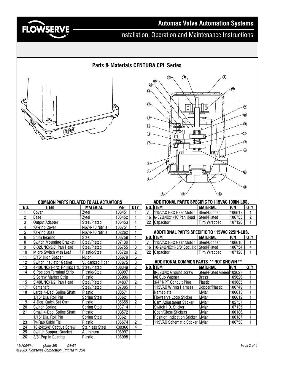Parts Materials Centura Cpl Series Flowserve Wiring Diagram User Manual Page 2
