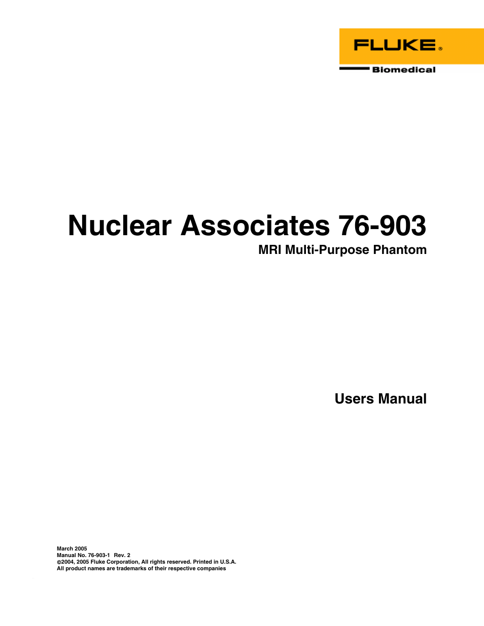 Fluke Biomedical 76-903 User Manual | 16 pages