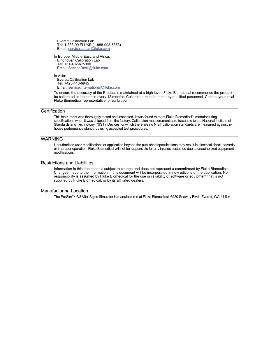 Fluke Biomedical ProSim 6 User Manual | Page 4 / 102 | Also for