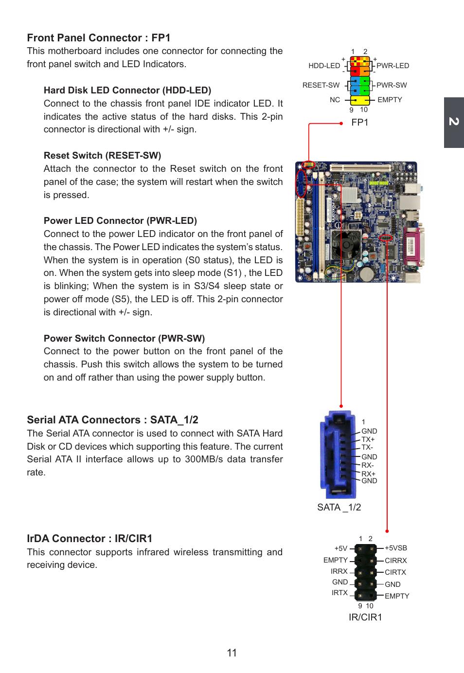 Front panel connector : fp1, Serial ata connectors : sata_1