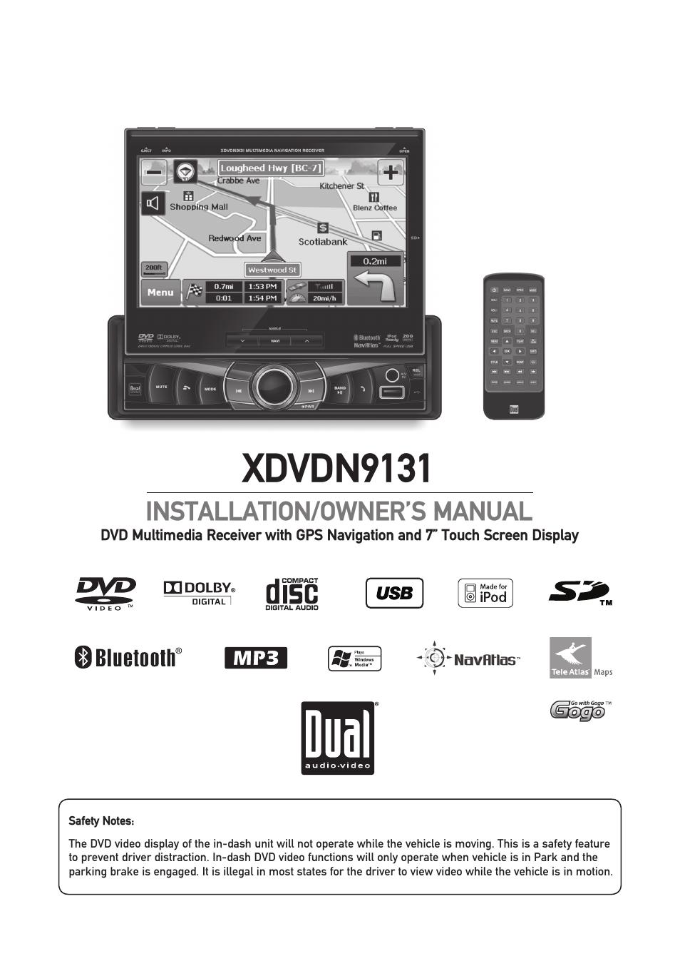 dual xdvdn9131 manual