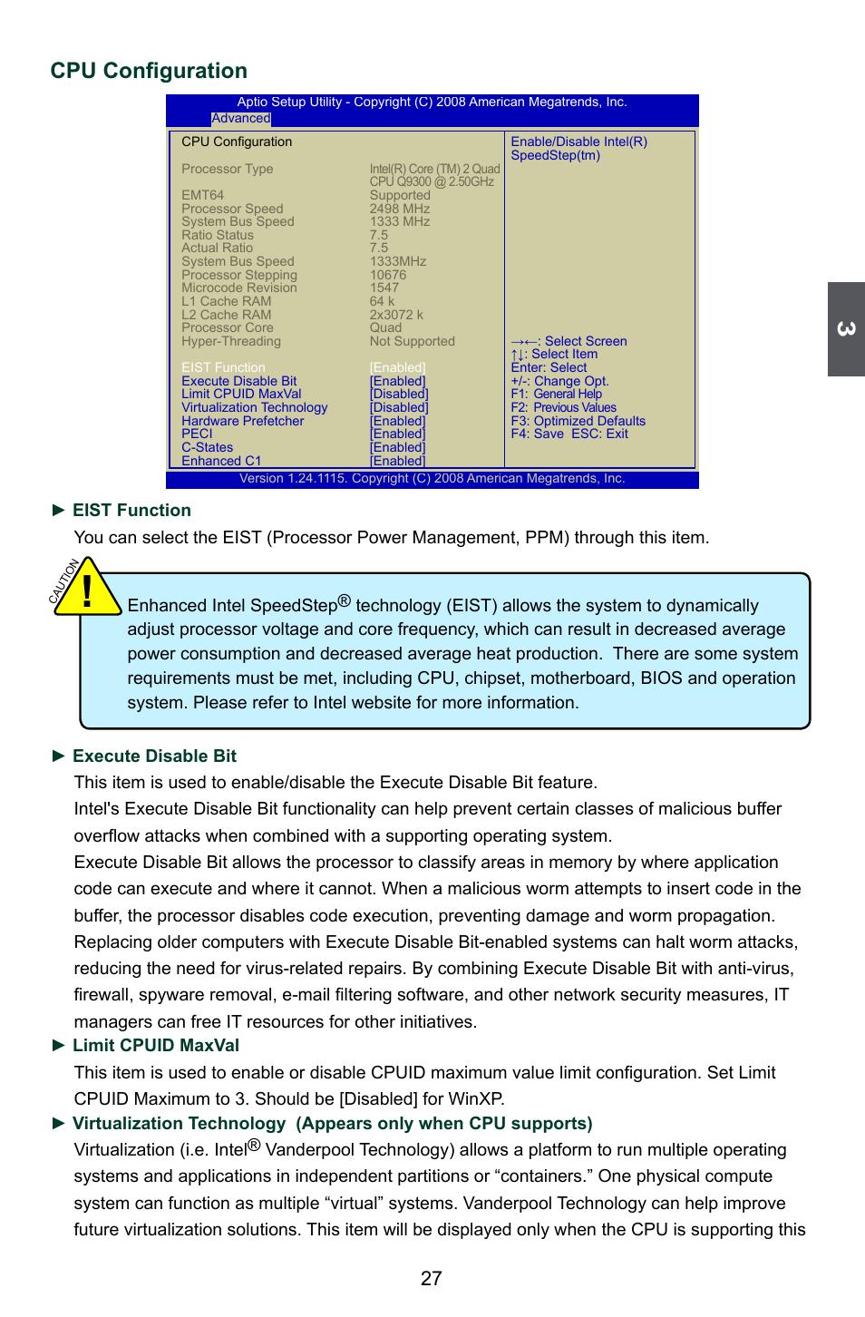 Cpu configuration | Foxconn Q45M User Manual | Page 34 / 113