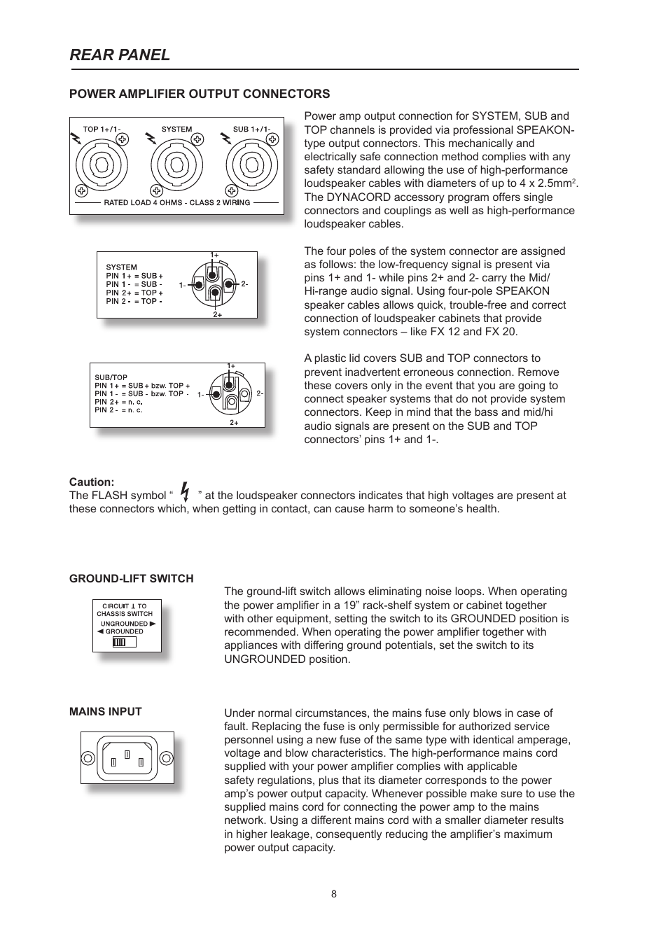 Rear panel | Dynacord System Power Amp Xa 4000 User Manual | Page 8 / 48