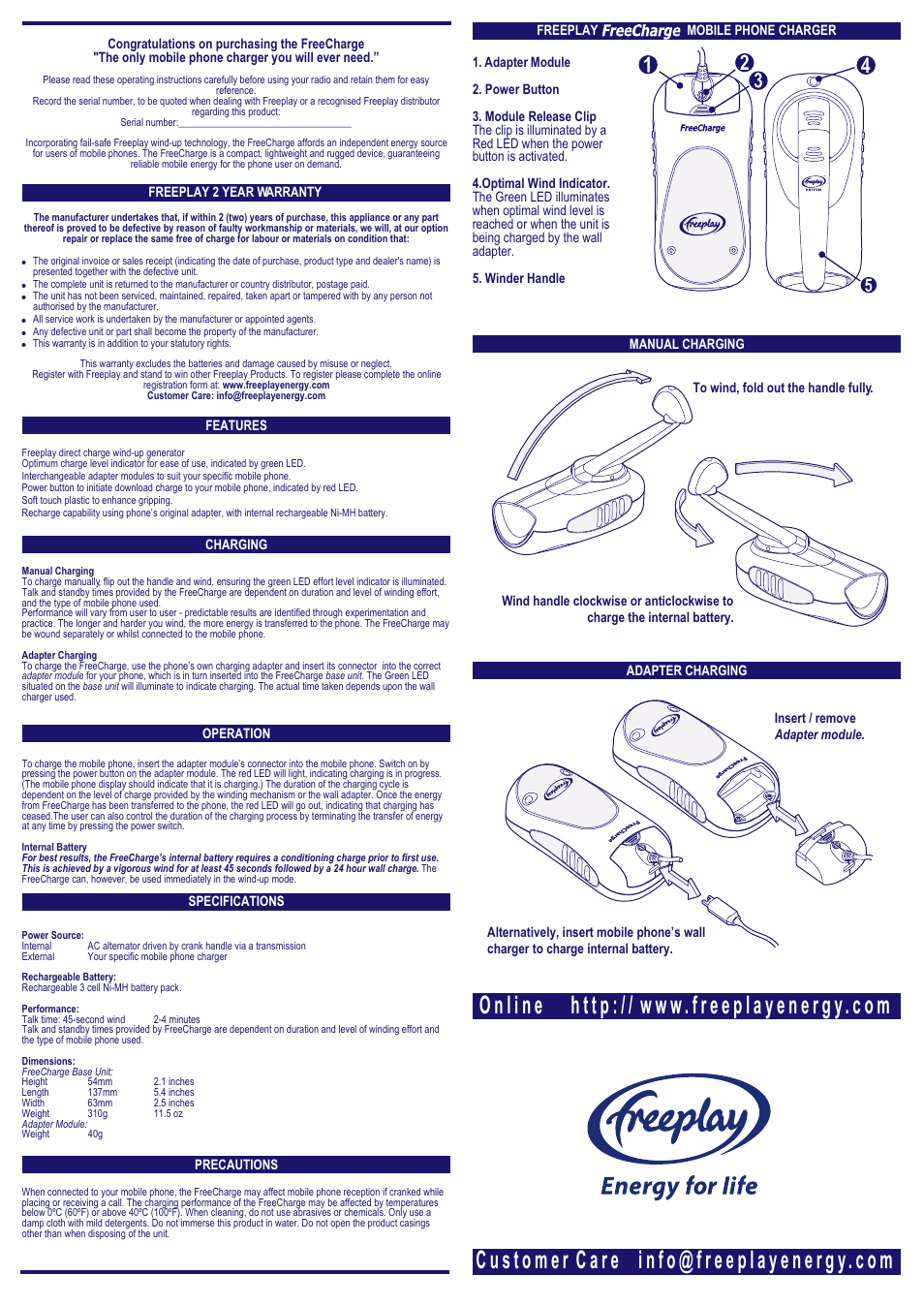 Freeplay Energy Freecharge (Old) User Manual   1 page