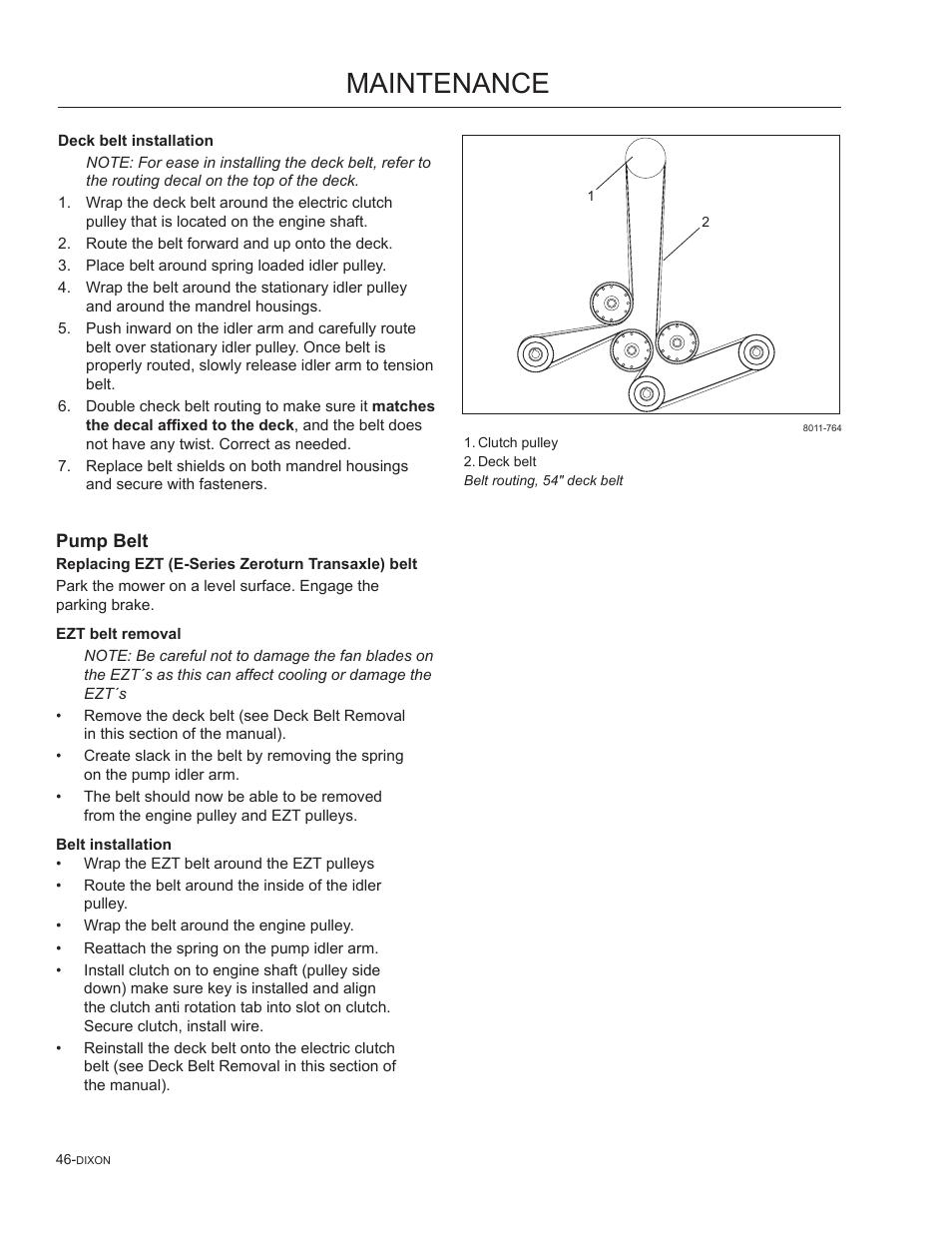 Pump Belt Maintenance Dixon Speedztr 965882301 User Manual Page Zero Turn Mower Wiring Diagram 46 75