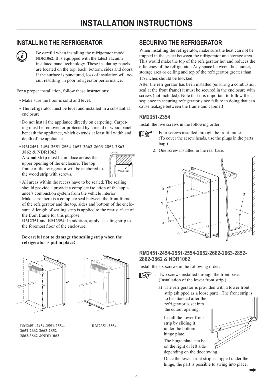 Thermador Refrigerator Installation Instructions Manual Guide