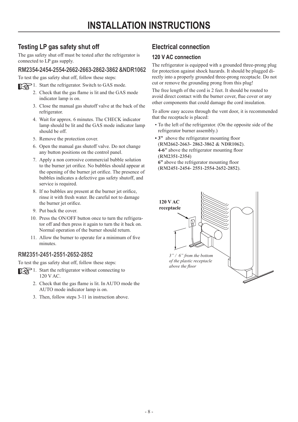 Installation Instructions Testing Lp Gas Safety Shut Off Motorhome Refrigerator Indicator Light Wiring Diagram Electrical Connection Dometic Rm2852 User