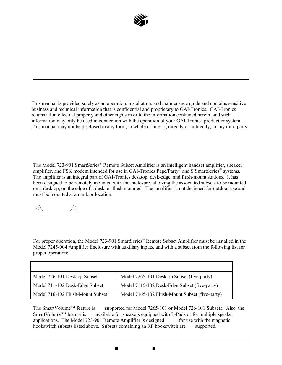 GAI-Tronics 723-901 SmartSeries Remote Subset Amplifier User Manual