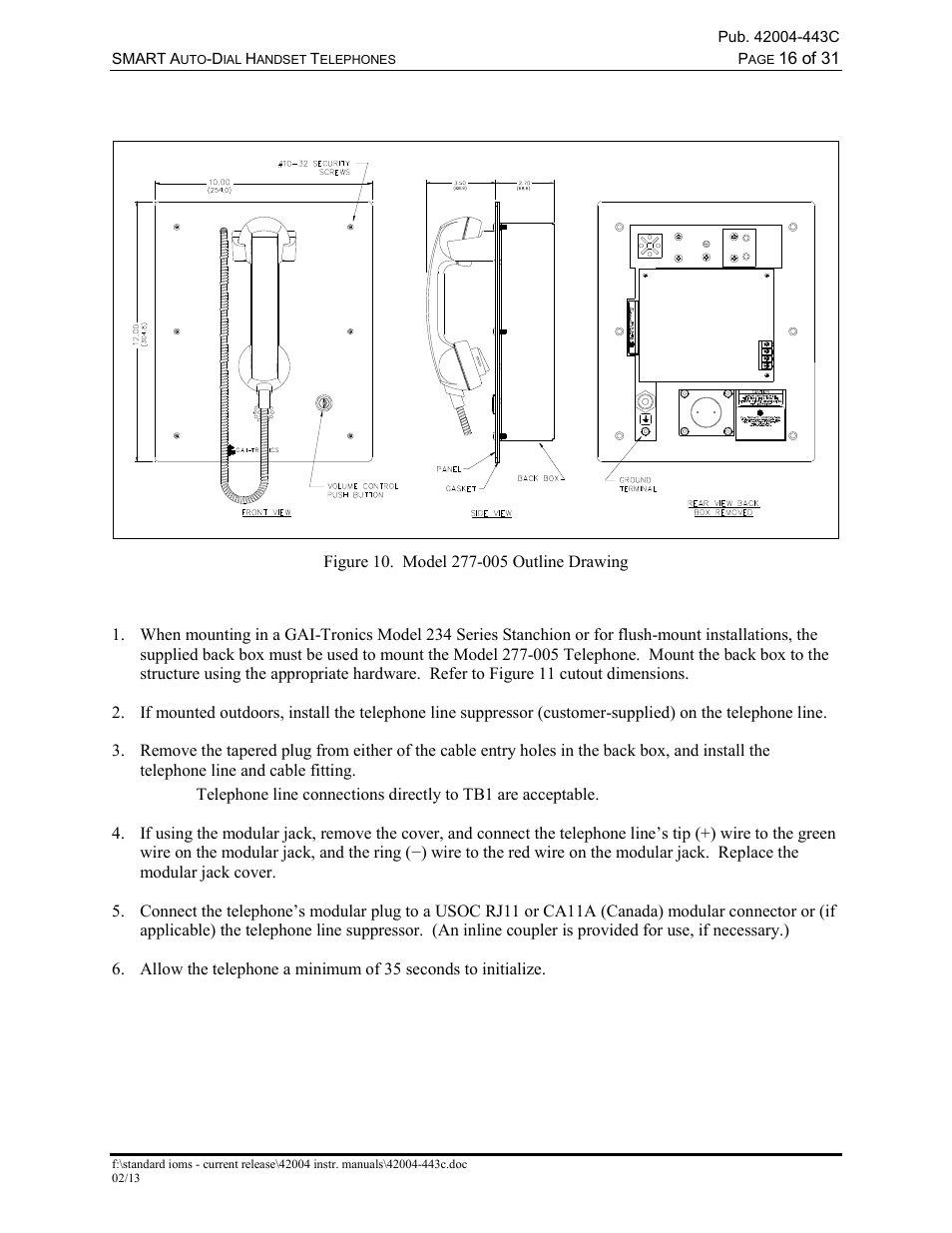 Model 277 005 Stanchion Or Flush Mount Applications Gai Tronics Usoc Cable Wiring Diagram 227 Smart Auto Dial Handset Telephones User Manual Page 18 34