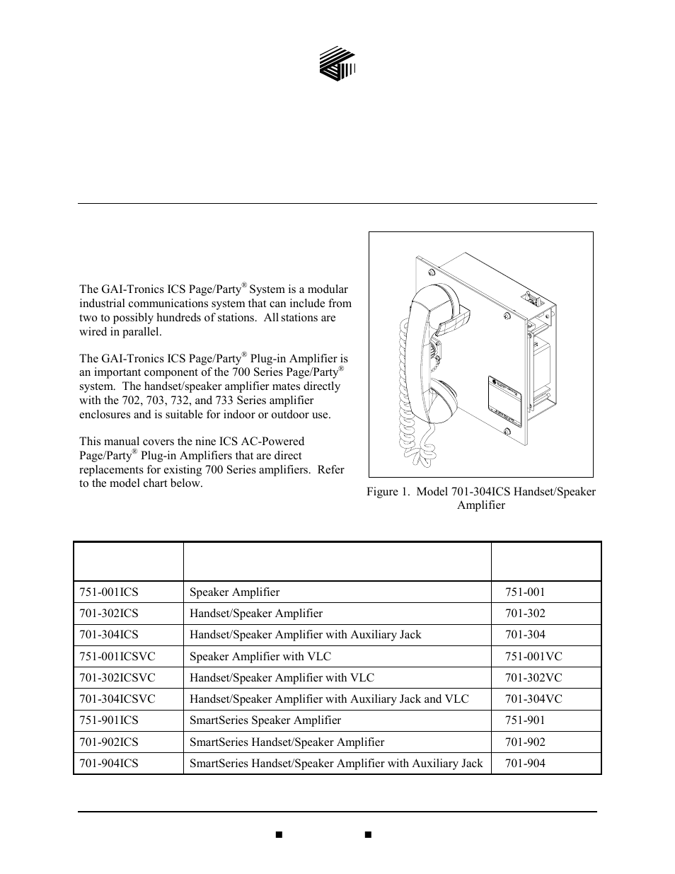 General information, Product overview, Model chart | GAI-Tronics 701