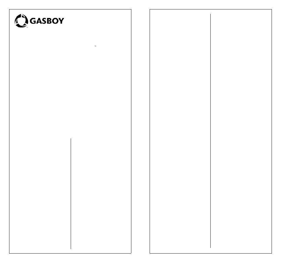Gasboy Atlas Technician Programming Quick Ref User Manual