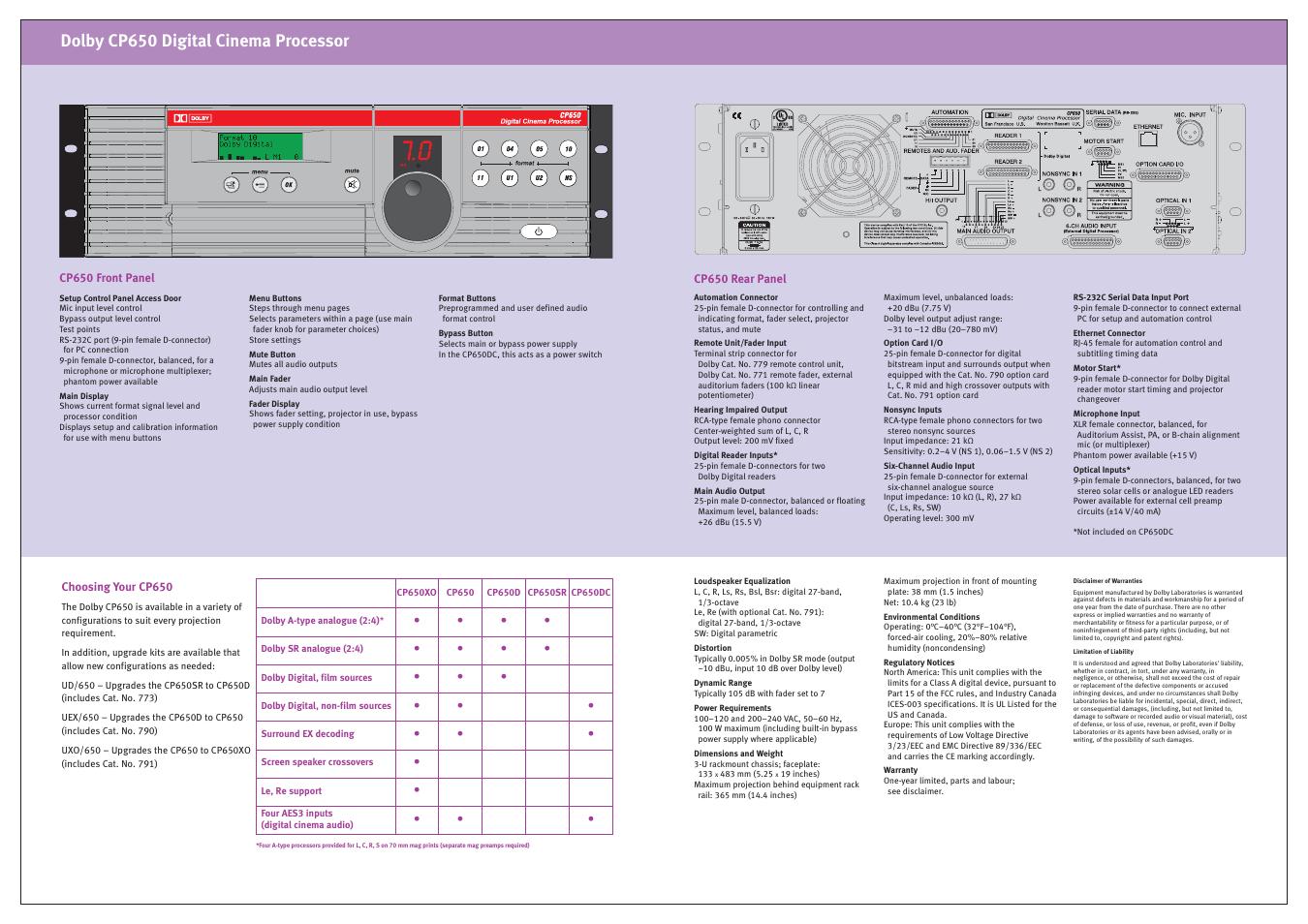 dolby cp650 digital cinema processor dolby laboratories cp650 user rh manualsdir com Dolby Atmos Logo Dolby Noise Reduction