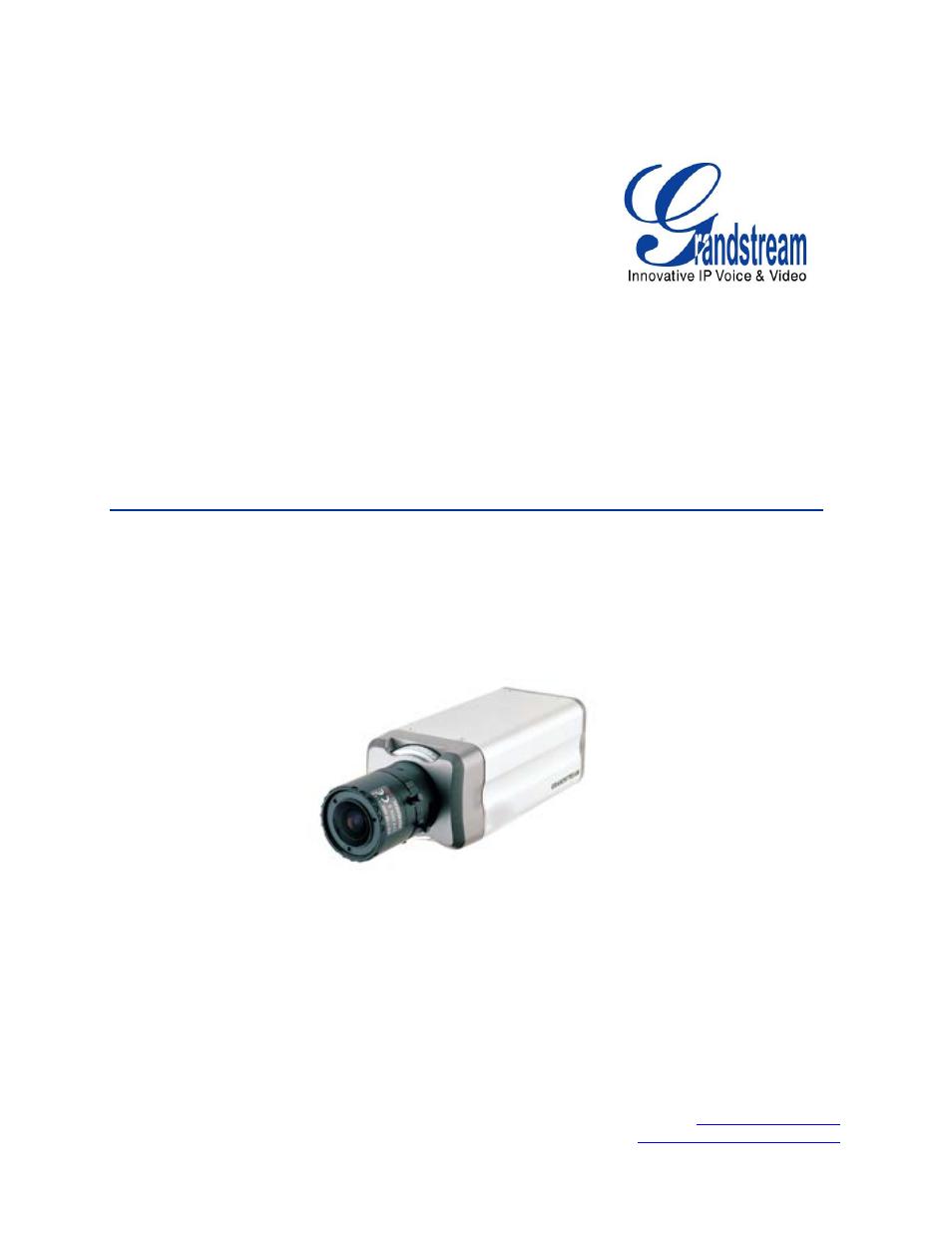 Grandstream GXV3601 Series IP Camera User Manual User Manual