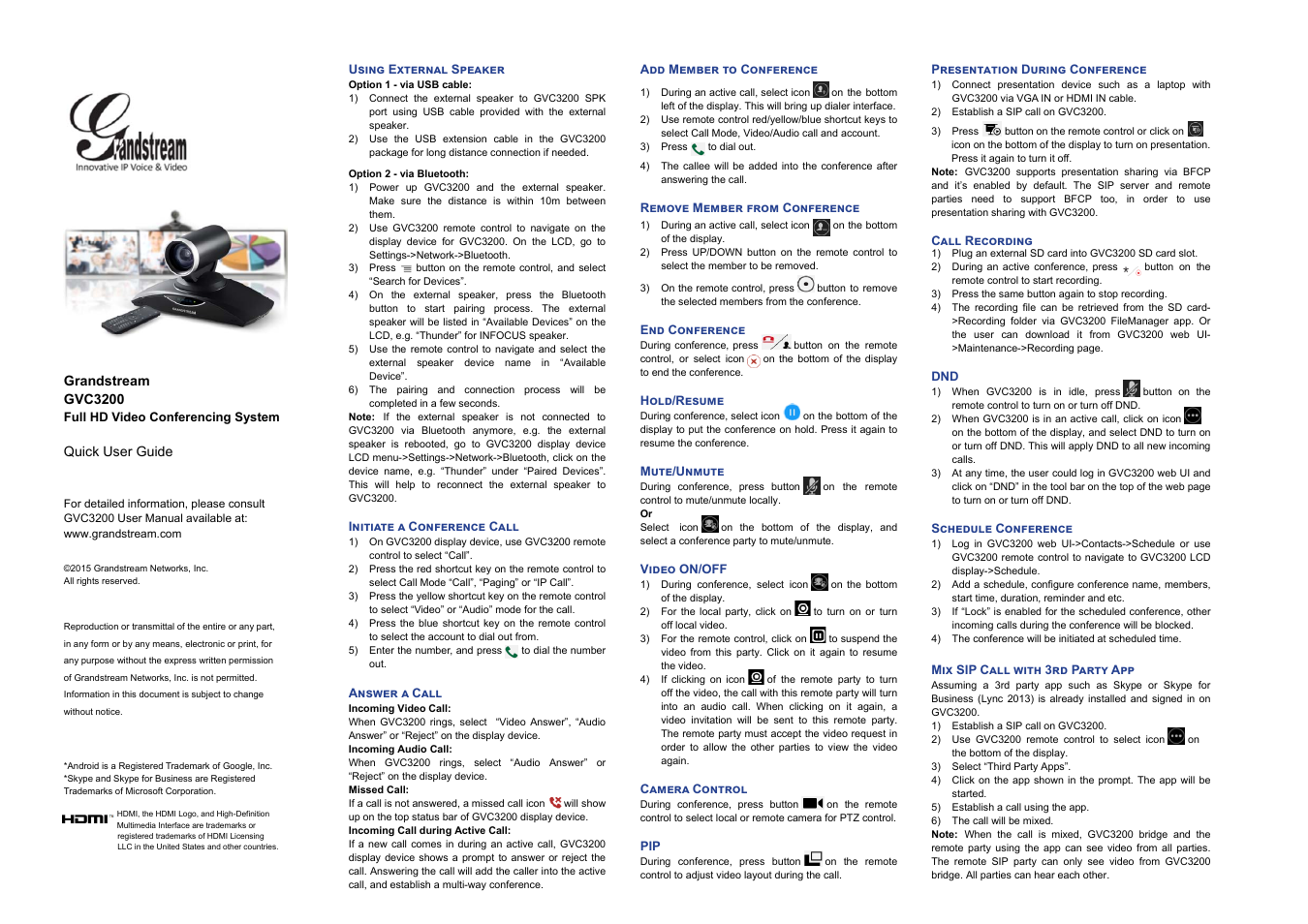 Grandstream GVC3200 Quick User Guide User Manual | 1 page