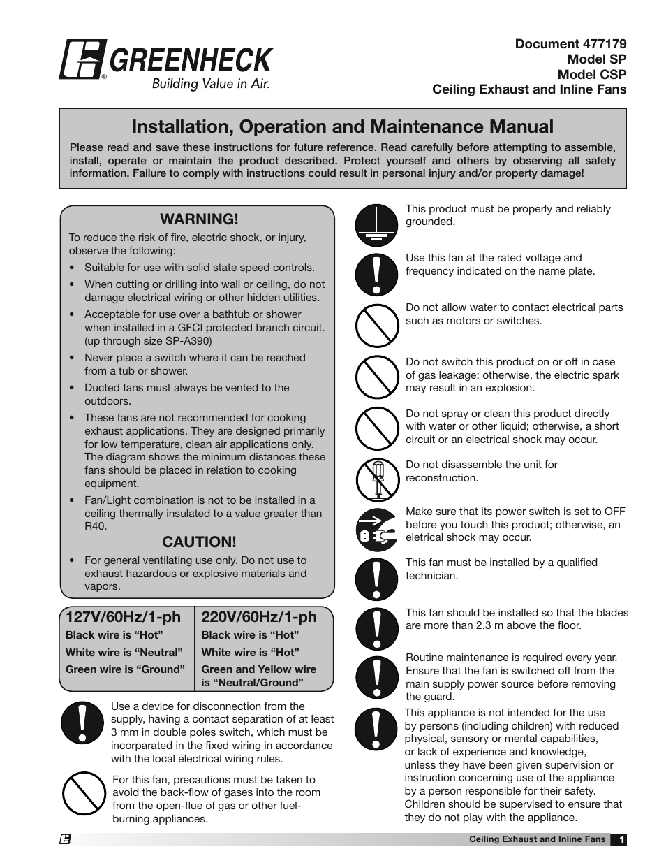 Greenheck SP and CSP (477179) User Manual | 20 pages | Also for: SP ...