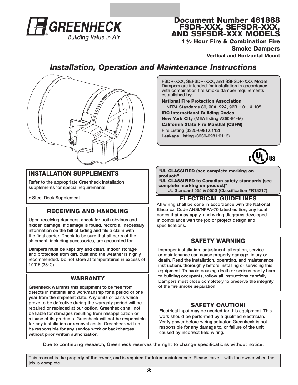 Greenheck Multi-blade Fire & Combination Fire Smoke Dampers Installation  Booklet (826249) User