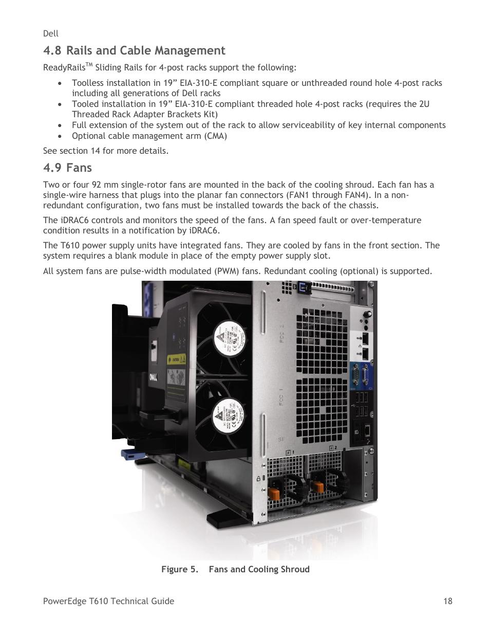Rails and cable management, Fans, Figure 5   Dell PowerEdge