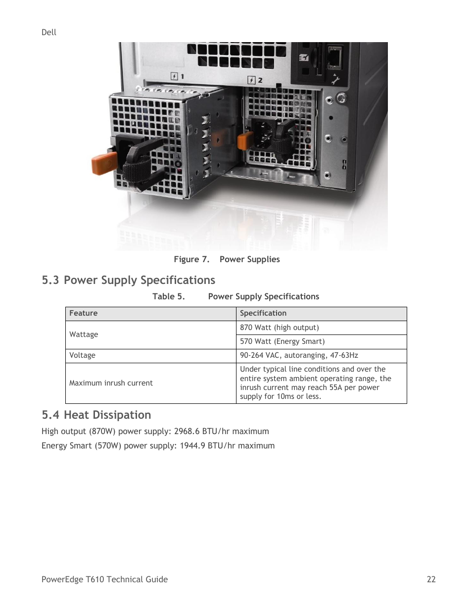 Power supply specifications, Heat dissipation, Table 5 | Dell