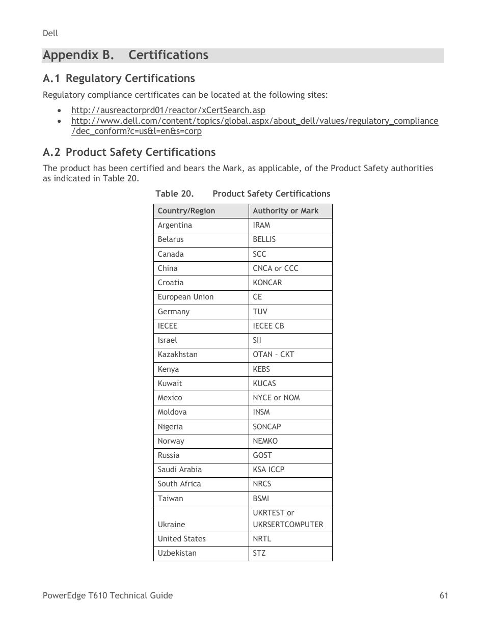 Appendix B Certifications Regulatory Certifications Dell
