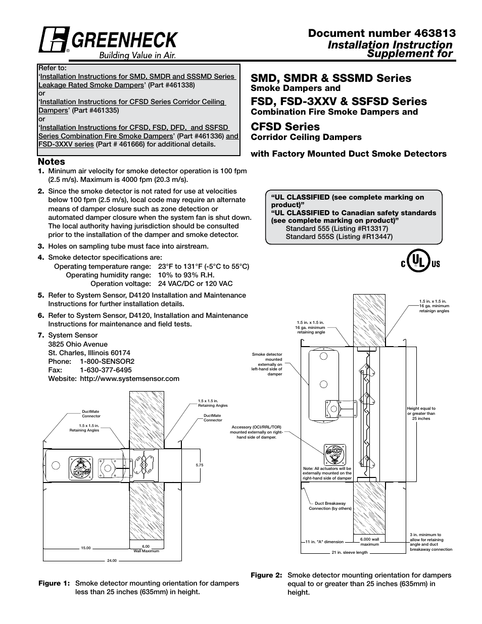 Greenheck Smoke Detector Supplement 463813 User Manual 6 Pages D4120 Duct Wiring Diagram