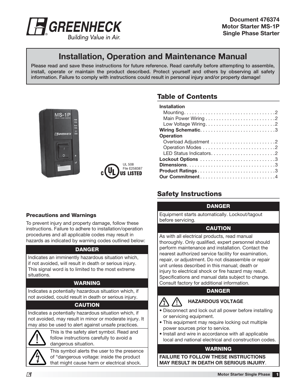 Greenheck Universal Control Ms 1p 476374 User Manual 4 Pages Equipment Electrical Wiring Schematic