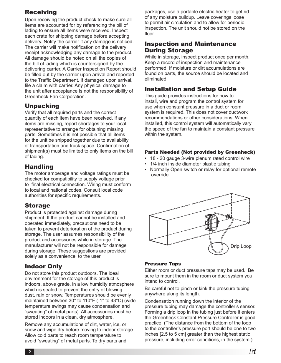 Receiving Unpacking Handling Greenheck Vari Green Control Fan Speed Over Ride Switch Constant Pressure Indoor 474766 User Manual Page 2 8