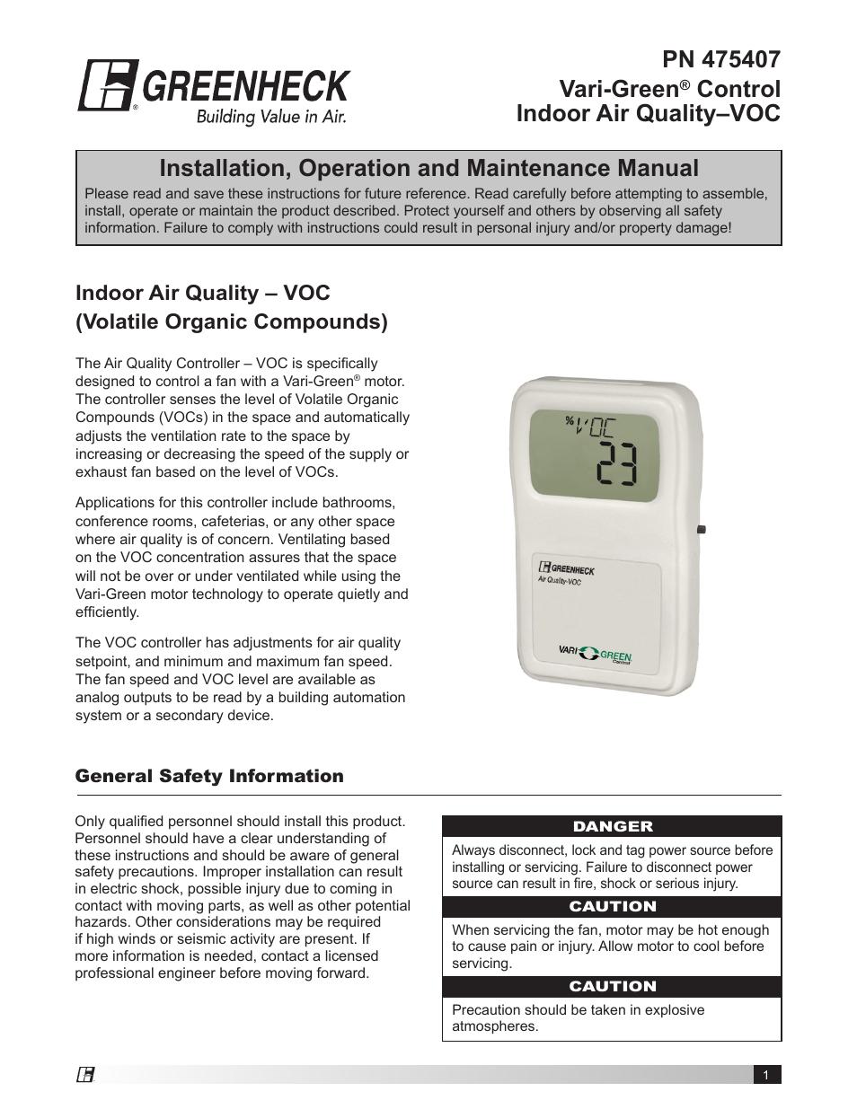 Greenheck Vari-Green Control - Indoor Air Quality - VOC