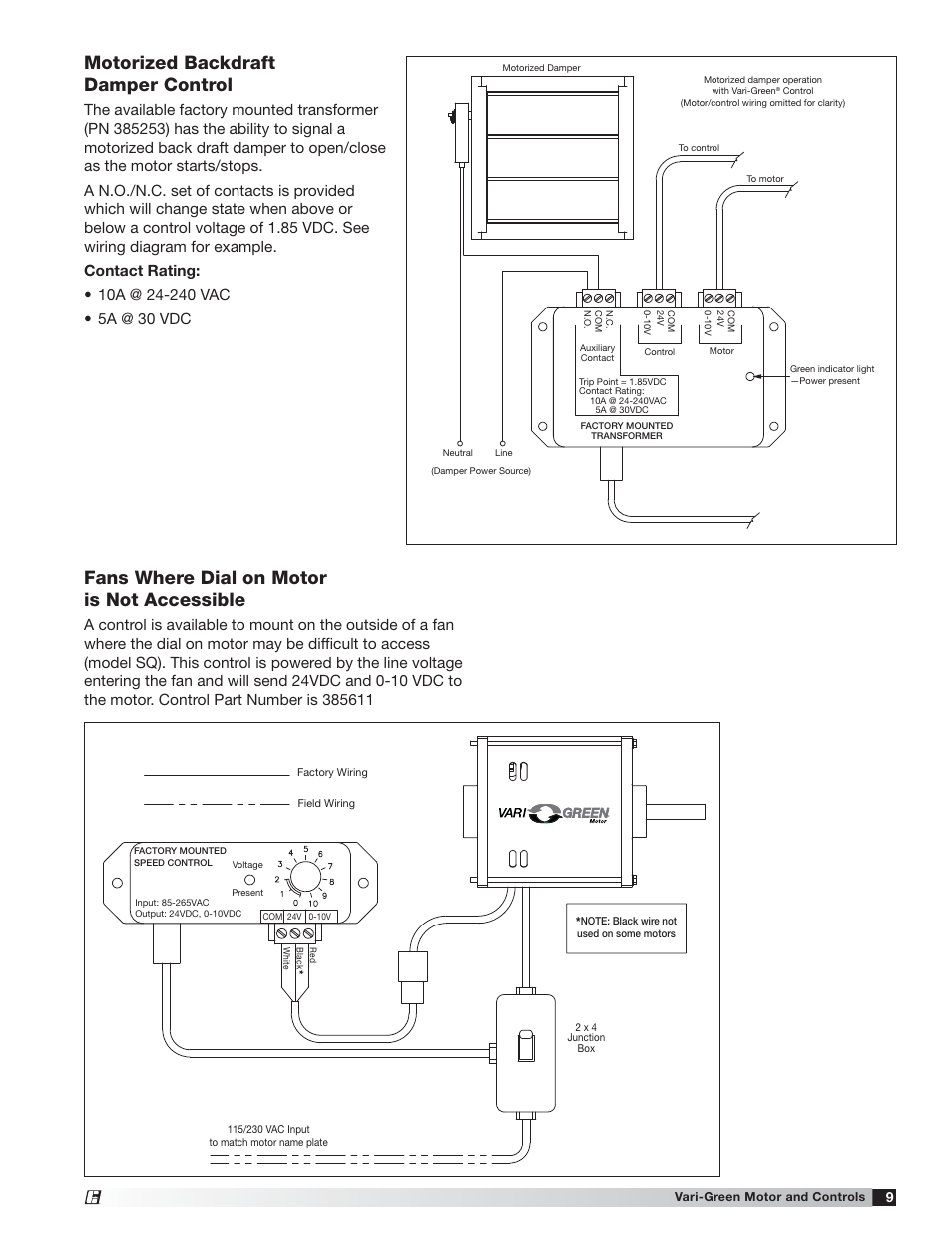 Motorized backdraft damper control, Fans where dial on motor is not  accessible | Greenheck Vari-Green Motor (IOM 473681) User Manual | Page 9 /  12