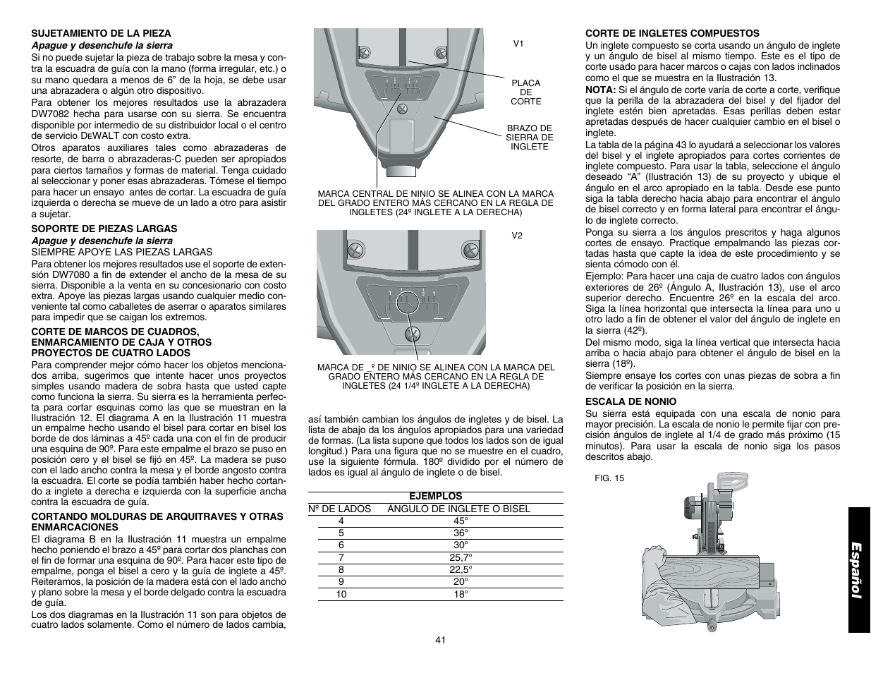 Español | DeWalt DW706 User Manual | Page 43 / 52
