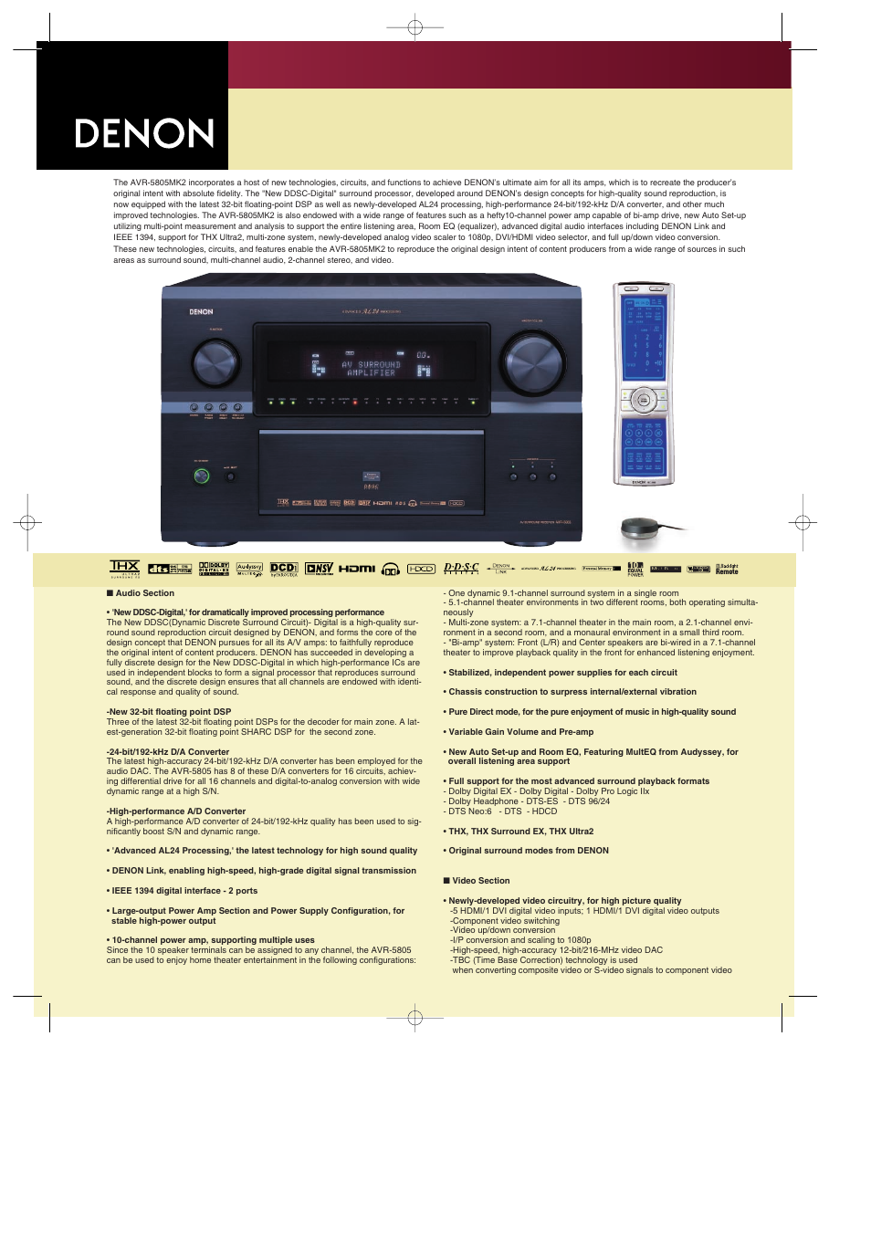 Denon AVR 5805MK2 User Manual | 2 pages
