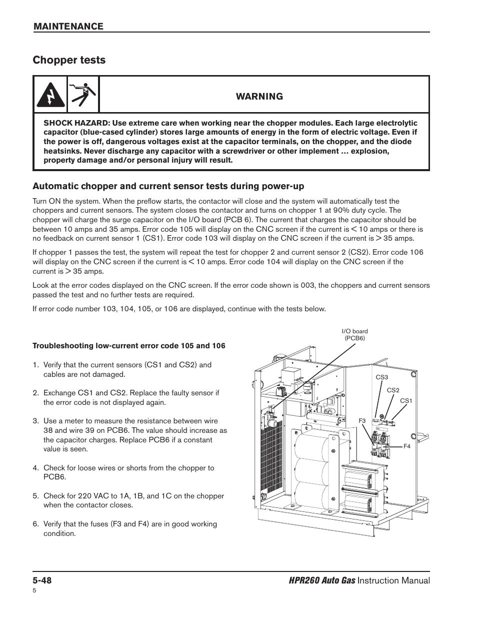 Chopper Tests 48 Hypertherm Hpr260 Manual Gas Capacitor Wiring Diagram Preventive Maintenance Program Rev5 User Page 192 317