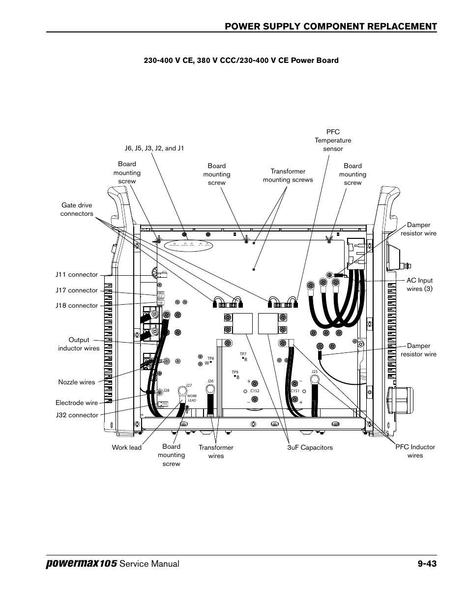 Powermax Power Supply Component Replacement Hypertherm Ccc Wiring Diagram Powermax105 Service Manual User Page 241 343