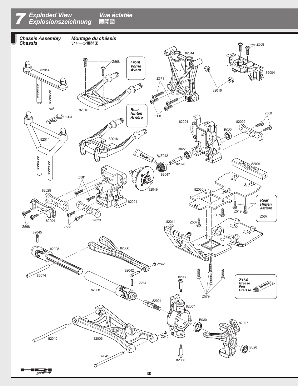 exploded view explosionszeichnung vue �clat�e, montage du ch�ssis, chassis  assembly chassis – hpi racing e-savage user manual