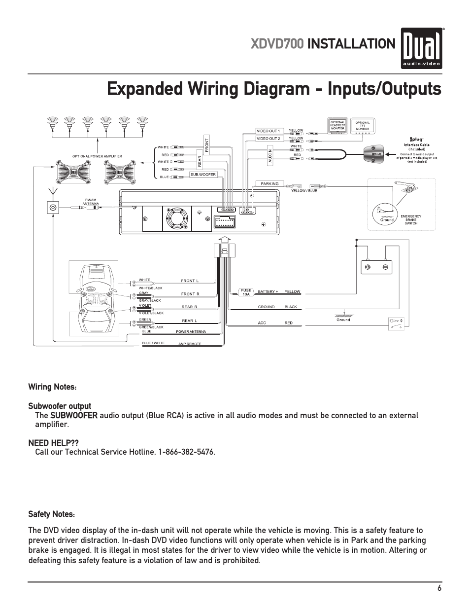 dual xdvd700 page7 expanded wiring diagram inputs outputs, xdvd700 installation dual xdvd700 wire harness diagram at soozxer.org