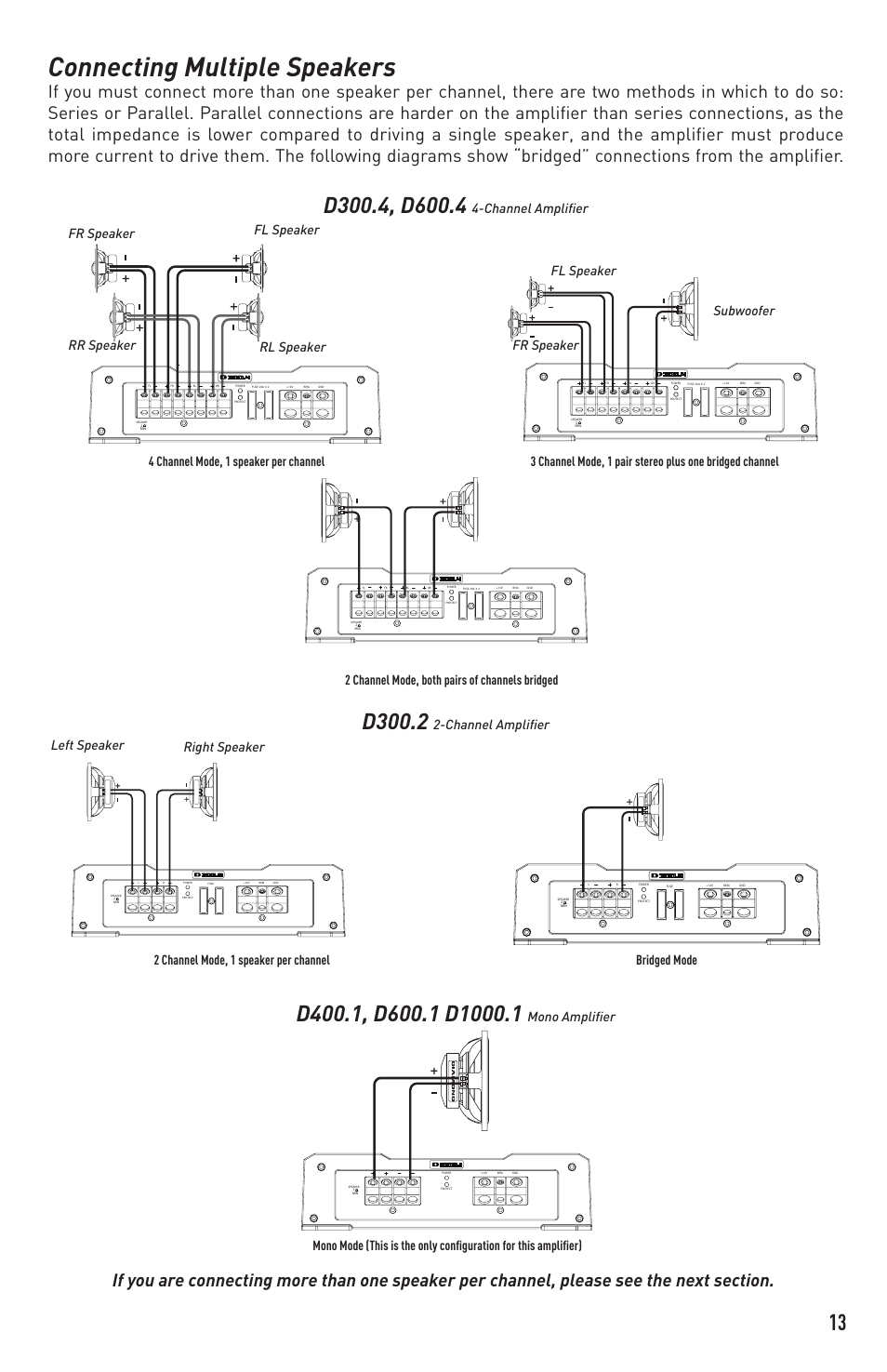 Connecting Multiple Speakers D3002 Channel Amplifier Diamond Wiring Add The 2 Impedance Together For Parallel D4001 User Manual Page 13 16