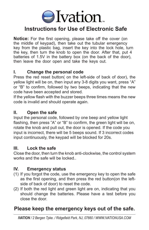 IVATION BRI20EA5-1 Digital Safe Box User Manual | 1 page