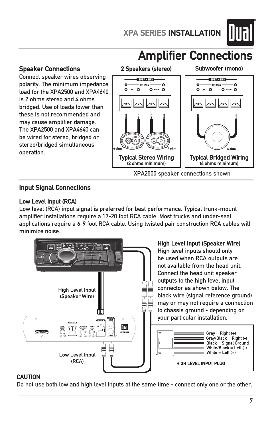 Amplifier Connections Xpa Series Installation Dual Xpa4640 User Wiring Add The 2 Speakers Impedance Together For Parallel Manual Page 7 12