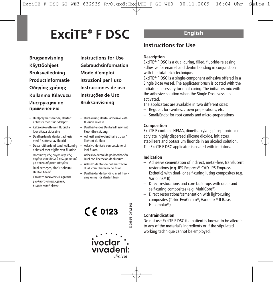 Ivoclar Vivadent ExciTE F DSC User Manual | 40 pages