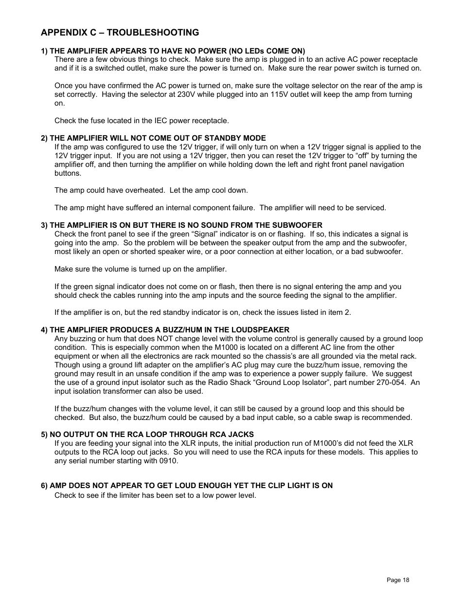 James Loudspeaker M1000 User Manual | Page 18 / 19