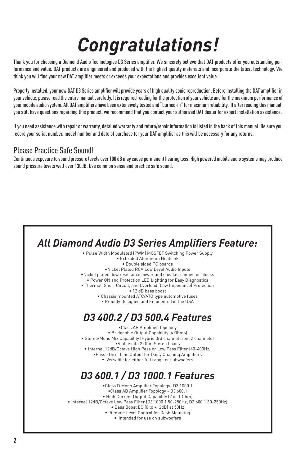 All diamond audio d3 series amplifiers feature, Please