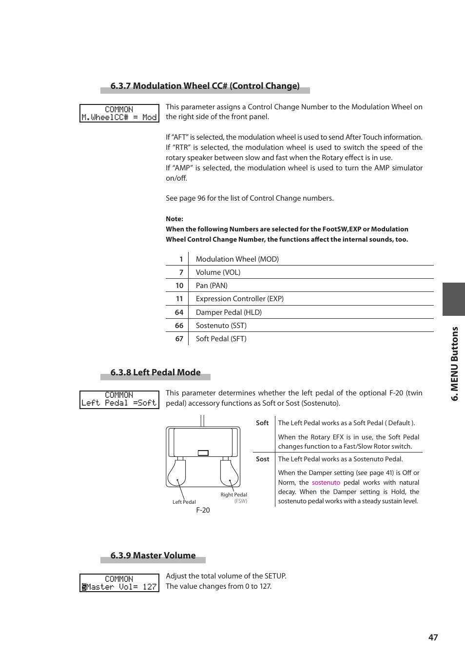 M e nu but tons | Kawai MP6 User Manual | Page 47 / 100