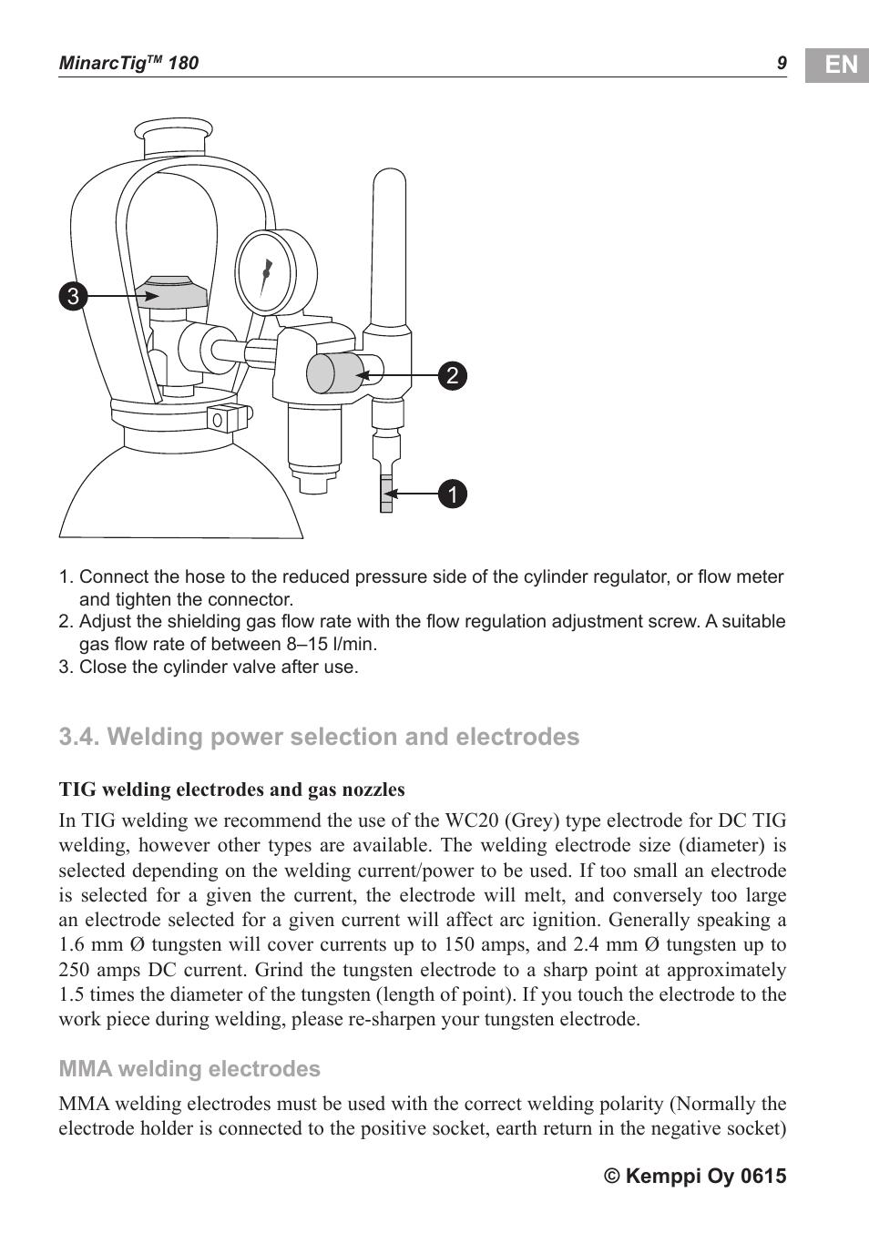 Welding Power Selection And Electrodes Kemppi Minarctig 180 User Electrode Diagram Manual Page 10 18