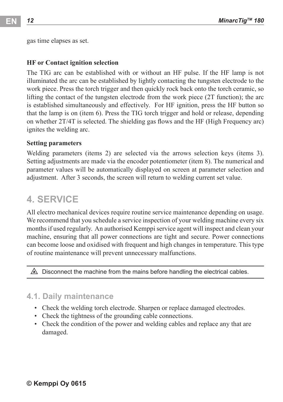Service, Daily maintenance | Kemppi MinarcTig 180 User Manual | Page 13 / 18