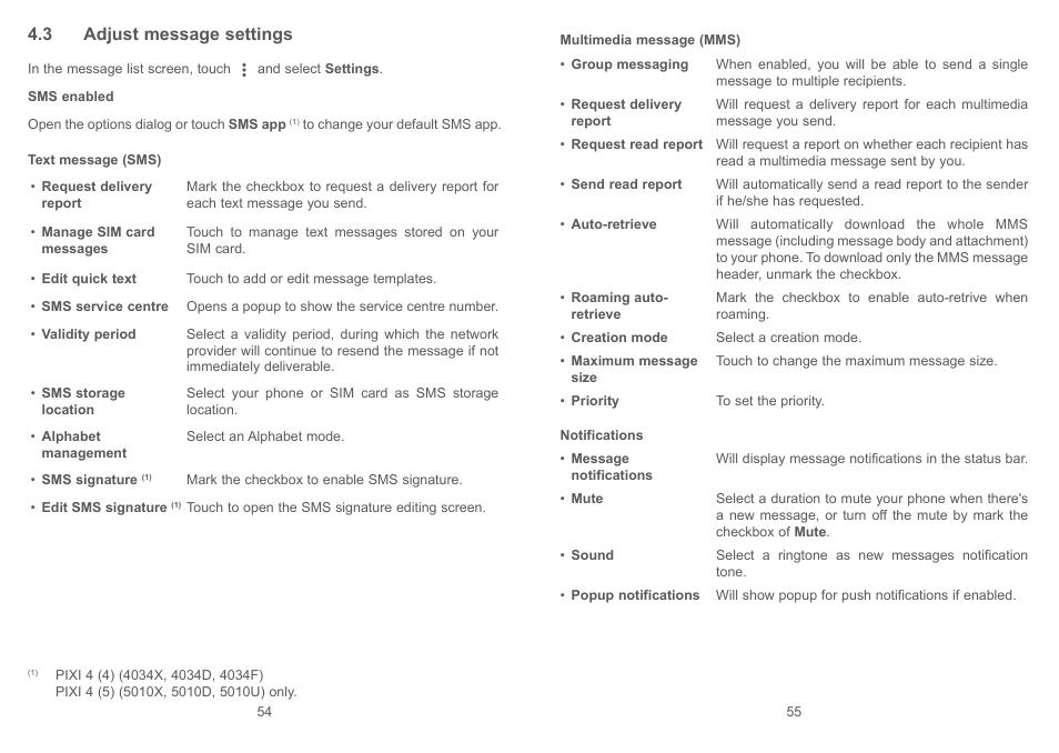 3 adjust message settings | Alcatel Pixi 4 4034 D User Manual | Page