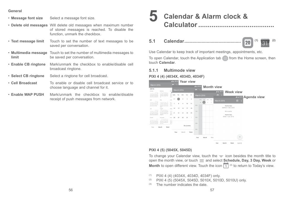 5 calendar & alarm clock & calculator, 1 calendar, 5