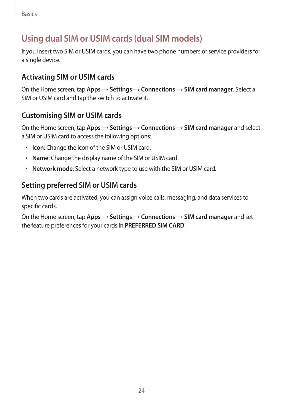 Using dual sim or usim cards (dual sim models), Activating sim or