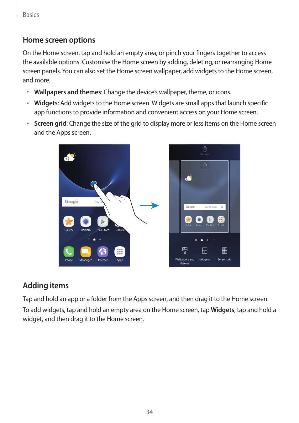 Home screen options, Adding items | Samsung SM-G930F User