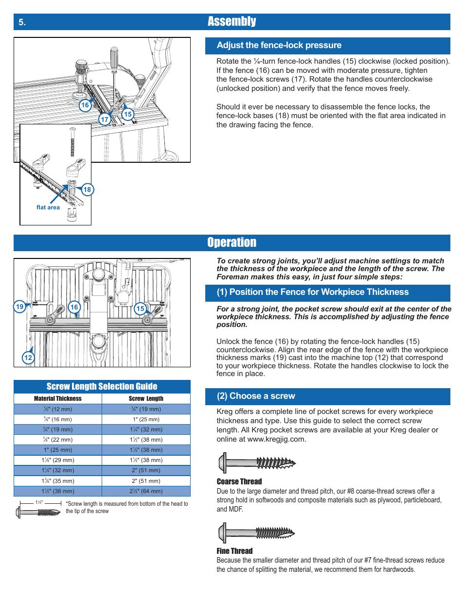 Assembly, Operation, Adjust the fence-lock pressure | Kreg DB210