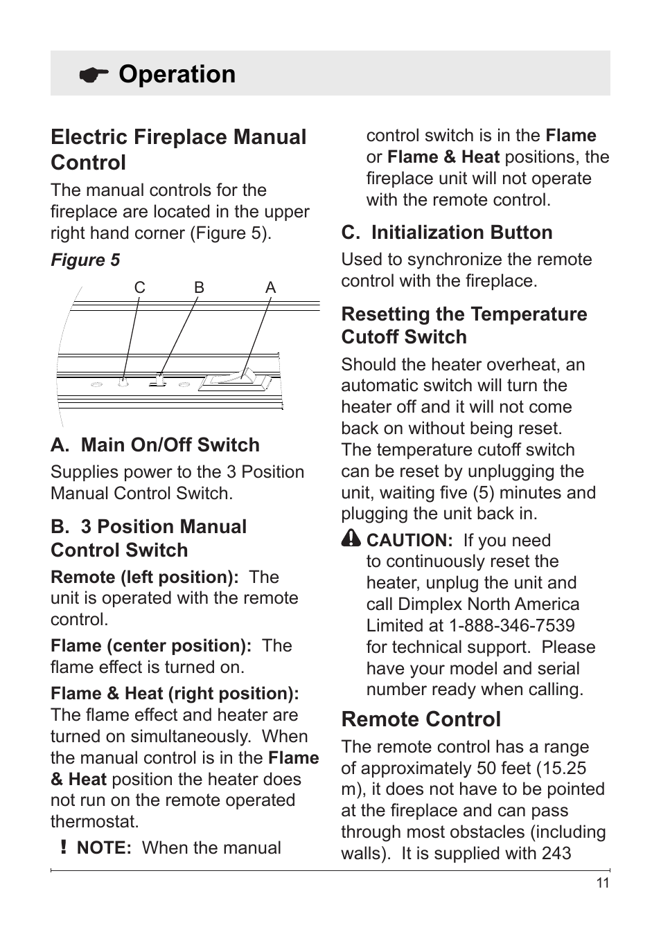 Operation  Electric Fireplace Manual Control  Remote Control
