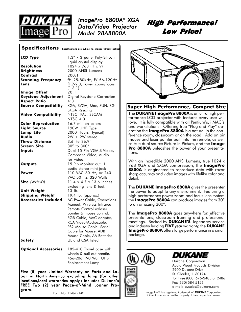 High performance, Imagepro 8800a, Audio visual products | Dukane ImagePro  8800A User Manual | Page 2 / 2